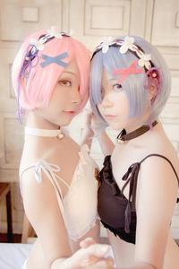 Ram x Rem Cosplay (Cat Bra version) by Yuni & Momoe Ren